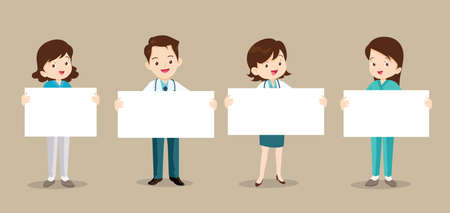 Set of doctor and nurse holding blank paper. Coronavirus quarantine concept.Smiling nurse or doctor wearing medical uniforms holding empty posters.