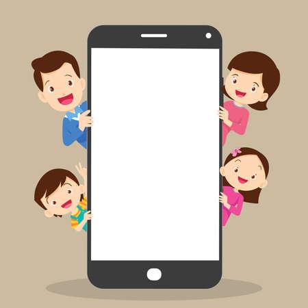 family peeking behind blank smartphone.family hiding behind smartphone.