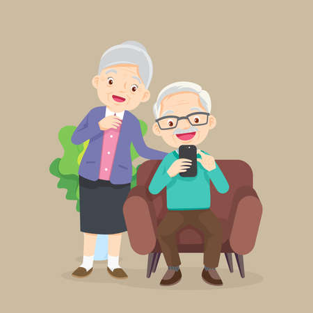 Elderly man and woman sitting on sofa and looks at phone in the living room Иллюстрация