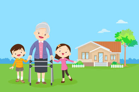 Elderly walking with house background. Grandchild helps grandmother to go to the walker. Kids Caring for the elderly. Children and old patients. boy and girl  help grandmother to go to the walker