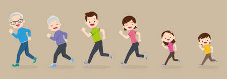 big family jogging exercising together For Good Health ,Grandfather, grandmother, father, mother, daughter, son   Exercise together Happily and vigorously.Cute family running together.