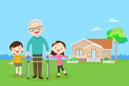Elderly walking with house background. Grandchild helps grandfather to go to the walker. Kids Caring for the elderly. Children and old patients. boy and girl  help grandfather to go to the walker Иллюстрация