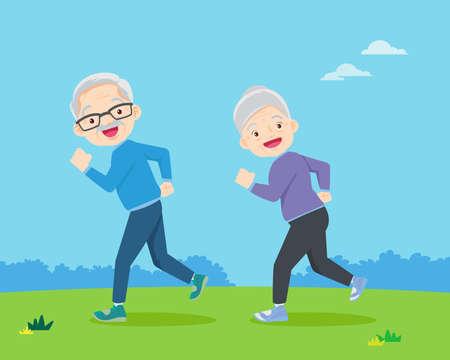Senior people and gymnastics. Elderly couple. Grandparents doing exercises. Sport. Morning jogging.
