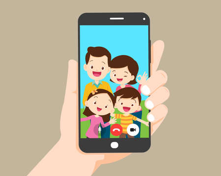 hand hold smartphone video call with family.Family call concept. Young family with  kids are having video call using the smartphone Иллюстрация