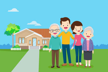 Happy family in the background of his home and car.Happy family in the background of his home. Father, mother, son and daughter together outdoors.Family standing outside new home. People moving house. Иллюстрация