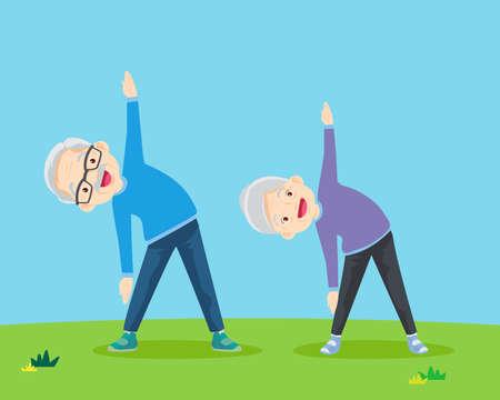 Senior people and gymnastics. Elderly couple. Grandparents doing exercises. yoga, Sport. Morning exercises.