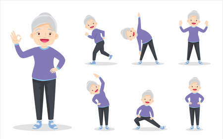 bundle set of elderly woman on exercise various actions. grandmother are various actions to move the body healthy