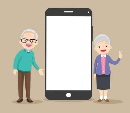 smartphone with elderly couple on screen.Video call with grandparents or aging parents.