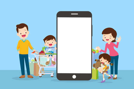 Happy family doing grocery shopping online with a mobile app on their smartphone.shopping cart with products and family is making the payment online. Иллюстрация