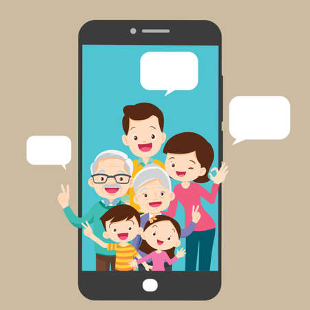 happy family and smartphone communication concept Иллюстрация