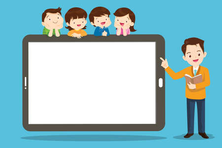 group of kids watching online teacher class on tablet computer. Internet education at home program concept