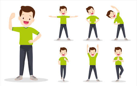 set of man on exercise various actions. father are various actions to move the body healthy