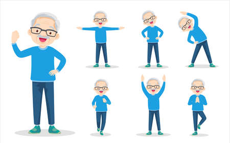 bundle set of elderly man on exercise various actions. grandfather are various actions to move the body healthy Иллюстрация