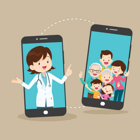 Smart doctor on the phone screen with family,Mobile App Family Doctor. Family Using Mobile Application, Control Health Indicators, Consult Online Doctor, Sign up Appointment Therapist. Healthcare services
