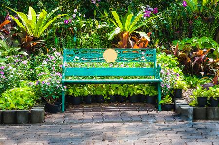 chair garden: Green chair,garden chair in the garden Stock Photo