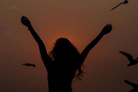 successfull: woman successfull and very happy open arms under the sunset Stock Photo