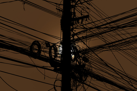 Disarrangement Concept, Tangled Electrical Wire On Electricity ...