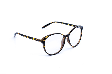 nearsighted: Glasses on over white background Stock Photo
