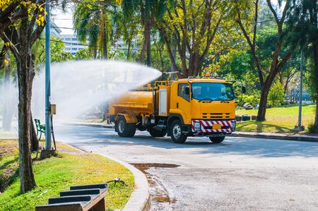 Water truck watering in the garden