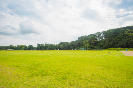 Beautiful green park with cloudy and sky Stock Photo