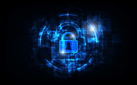 Padlock Security cyber digital concept Abstract technology background protect system innovation vector illustration Çizim