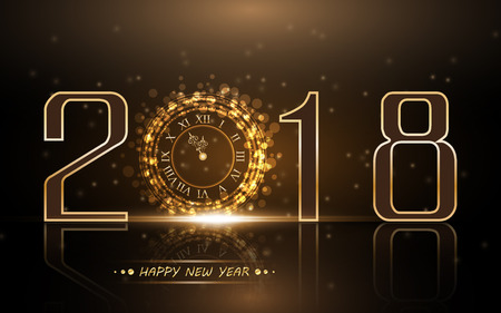2018 New Year background with gold clock Illustration