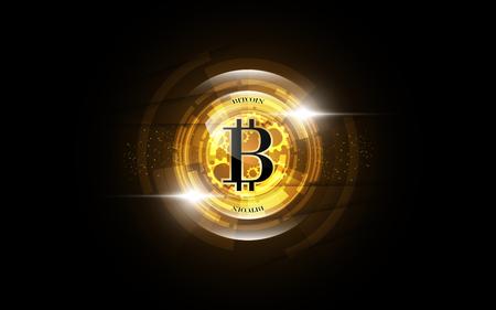 Bitcoin gold money futuristic network business concept Vectores