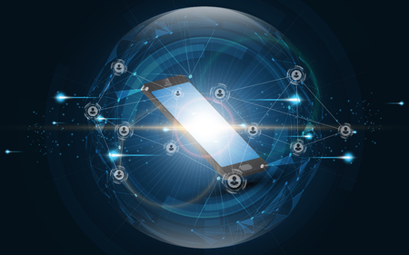 Modern network connection smartphone technology Vectores