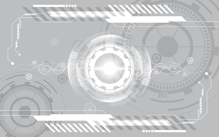 Grey white Abstract technology background with various technology elements
