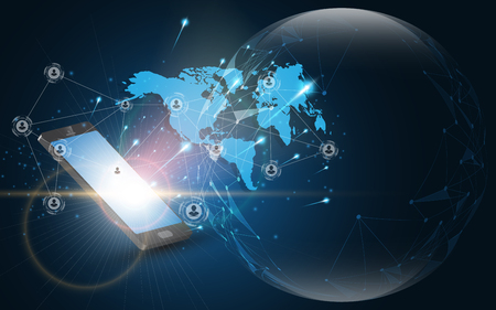 Modern global network connection smartphone technology concept