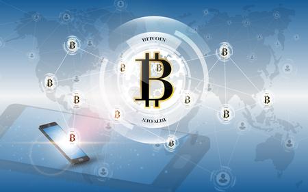 Modern smartphone with bitcoin digital money network concept
