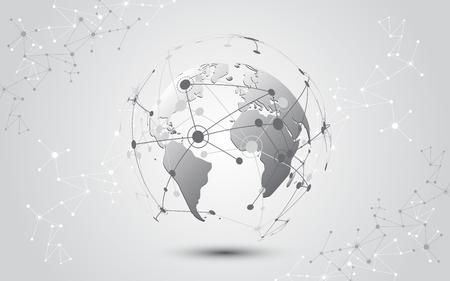 Global network connection World map abstract technology background global business innovation concept Illusztráció