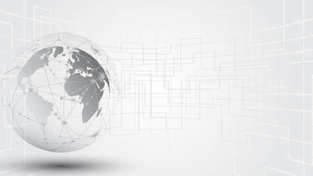 Global network connection World map abstract technology background