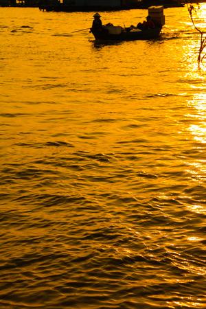 lake sunset: Boat freshwater lake sunset Cambodia Stock Photo
