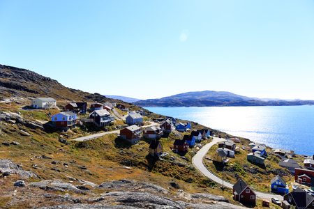 Kleurrijke huizen, Qaqortoq, Groenland, Europa