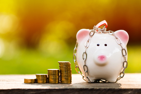 A piggy bank with security and lock and stacking gold coins with growing money in the public park, a saving for future investment concept. Stock Photo