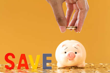 Woman hand hold a coin and wooden alphabet save and piggy bank put on the stacking gold coins in the office, Saving money for future investment concept.