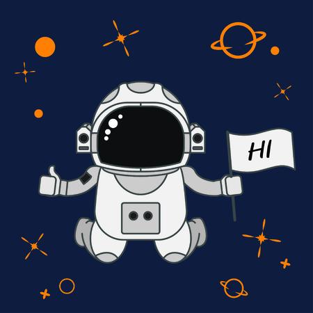 Astronaut all star in galaxy style cartoon, vector illustration