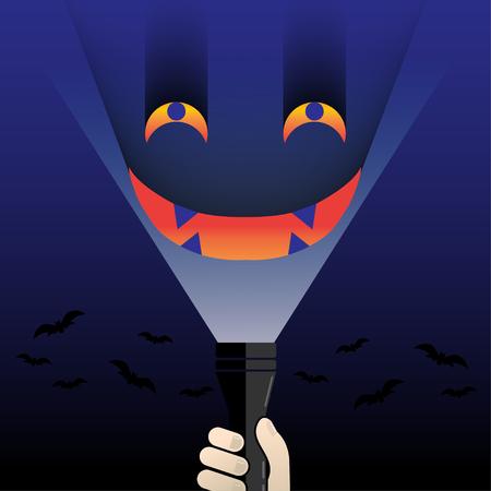 linterna brillo cara monstruo ojo fantasma en fondo azul día de Halloween Ilustración de vector