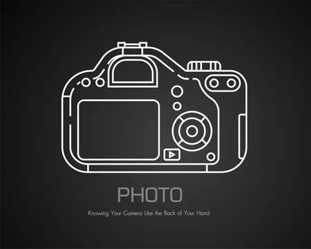 Modern camera in doodle style. Vector In the black background icon vector Illustration