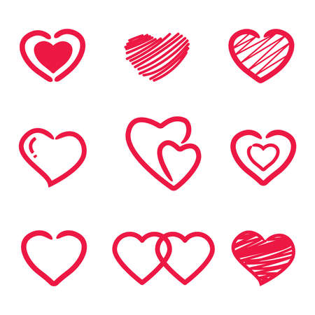 Collection of heart illustrations, Love symbol icon set, love symbol.