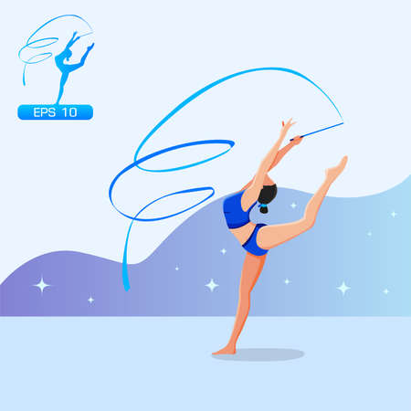 Girl practicing rhythmic gymnast performing with ribbon vector. Vectores