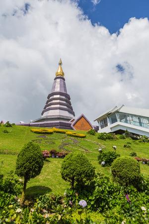 phon: Landscape of two pagoda noppha methanidon-noppha phon phum siri stupa in an Inthanon mountain, chiang mai, Thailand. Stock Photo