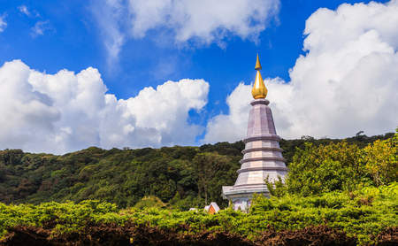 phon: Landscape of two pagoda noppha methanidon-noppha phon phum siri stupa in an Inthanon mountain, chiang mai, Thailand. Stock Photo