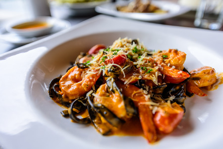 black pasta and seafood sause