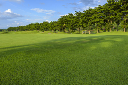golf course and yellow flag,blue sky and green fields