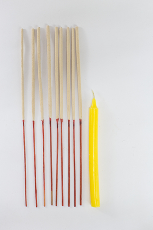 incense stick and candles isolated on white background Stock Photo
