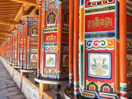 the Tibetan pray wheels in Labrang monastery ,Gansu China July 07,2018