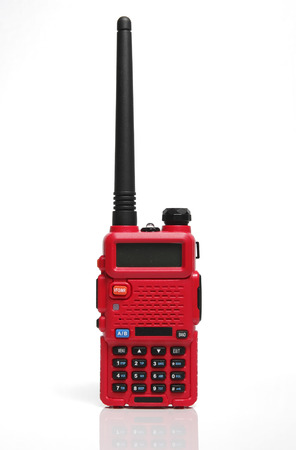 transceiver: Red Radio transceiver on White background