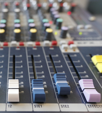 fader: Fader of Mixer console studio Stock Photo